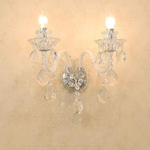 YXNKK E14 Clásica Aplique en Forma de Vela Aplique de Pared Decoración Interior Lámpara de Pared de Cristal Vintage para Sala de Estar Dormitorio Comedor con Bombilla 25W,Clear,2 Lights