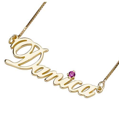 Loveu Jewelry Angepasster Namenskette with Geburtsstein 925er Silber Gold Personalisiert mit Ihrem Eigenen Wunschnamen Halskette für Damen