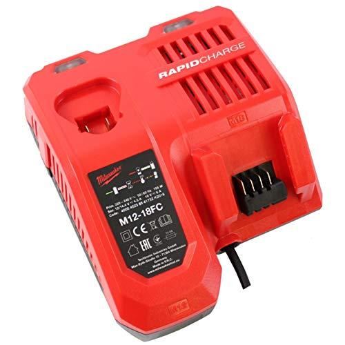 Powery Milwaukee Cargador Rápido M12-18FC para Baterías de 12V-18V Tanto con Anclaje de Carril como de acoplar