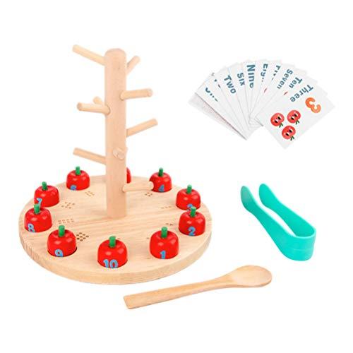NUOBESTY Zählen von Kleinkindspielen Stamm Apple Factory Lernspielzeug Feinmotorik Farbsortierung Montessori Spielzeug für Kleinkinder Geschenke Pädagogisch