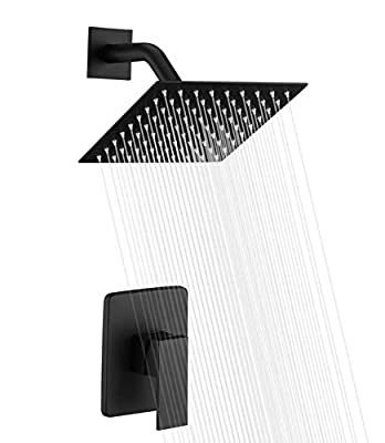 Sumerain Shower Valve and Trim Kit Brushed Nickel,Single Handle Shower Faucets Included Solid Brass Rough-in Valve and Square Stainless Steel Metal Showerhead