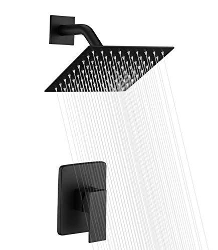 Lowest Price! Bathroom Matte Black Shower Faucet Set System, Shower Faucets Sets Complete with 8 Inc...