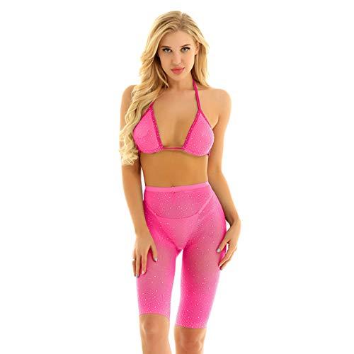 inhzoy Fischnetz Damen Glänzend Dessous Set Neckholder Bikini BH und Hot Pants Shorts mit Glitzer Transparent Zweiteiler Schwimmanzug Rose_Set Einheitsgröße