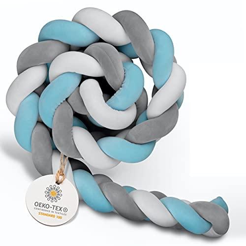 Amandi serpent de lit - entourage lit bébé - longueur 2m - qualité Öko Tex - nid bébé - serpent de lit tissé - testé en laboratoire - bleu