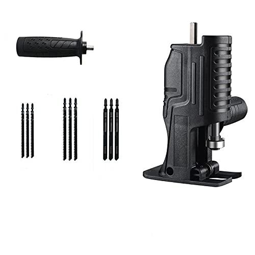 Sierra eléctrica modificada con taladro eléctrico, sierra alternante con potencia de sable doméstico para Jig herramienta de corte de carpintería portátil con adaptador inalámbrico (11 PCS)