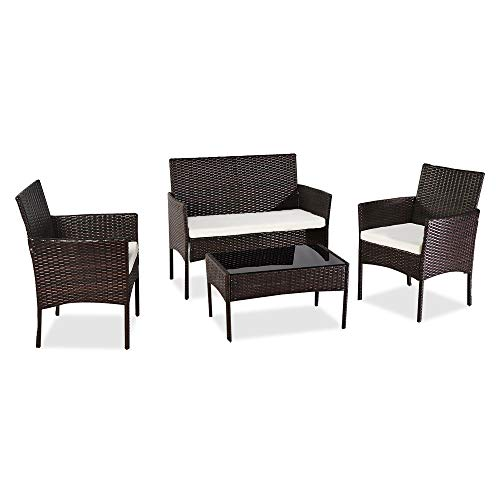EVAEUR Outdoor Living Room Balcony Rattan Furniture Four-Piece-Brown