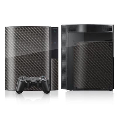 DeinDesign Skin kompatibel mit Sony Playstation 3 Folie Sticker Metallic Look Carbon Muster