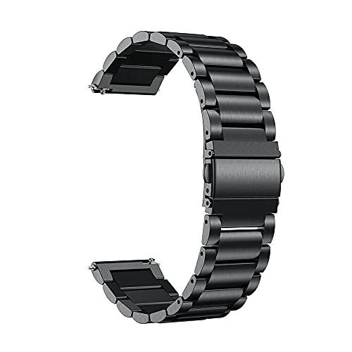 DFKai1run Correa de Acero Inoxidable, 18-22mm Correa de Acero Inoxidable Reloj de Reloj Pulsera Relojes de reemplazo Relojes de muñeca Deportes de Moda (Color : Negro, Size : 18mm)