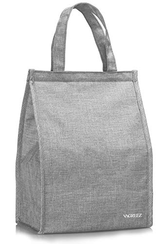 Lunch Bag VAGREEZ Insulated Lunch Bag Large Waterproof Adult Lunch Tote Bag For Men or Women Grey