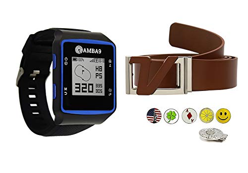 Review Amba9 GPS Golf Watch Bundle with Volvik Italian Genuine Leather Belt, 5 Ball Markers and 1 Ha...
