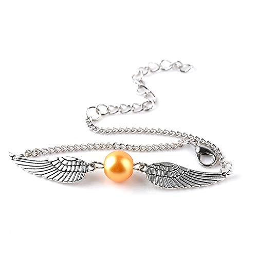 Pulsera de plata pura 925, alas de ángel de plata incrustadas con piedras preciosas amarillas, pulsera de mujer