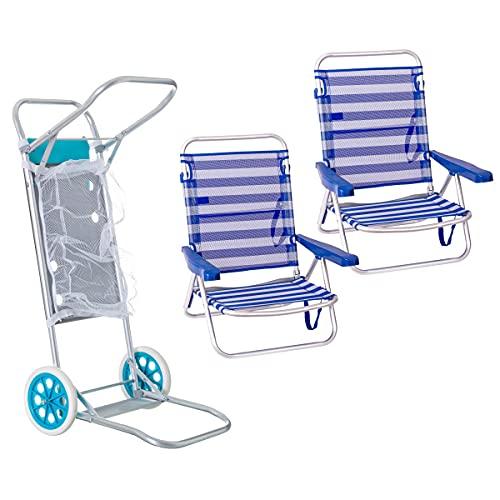 Pack de 2 sillas de Playa Azul y Blanco de Aluminio y textileno y Carro portasillas Nuevo y Mejorado - LOLAhome