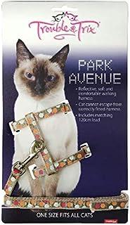 Trouble and Trix Park Avenue Cat Harness Set, Biege