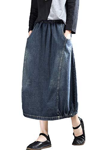 Flygo Women's Casual Elastic Waist Button Front A-Line Midi Long Denim Skirt Front Slit Pockets (One Size, Dark Blue #2)
