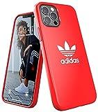 adidas Funda diseñada para iPhone 12 / iPhone 12 Pro 6.1, Fundas a Prueba de caídas, Bordes elevados, Carcasa Original, Color Rojo Escarlata