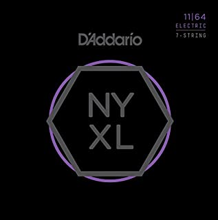 D'Addario NYXL1164 Nickel Plated Electric Guitar Strings, Medium,7-String,11-64 – High Carbon Steel Alloy for Unprecedented Strength – Ideal Combination of Playability and Electric Tone