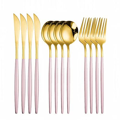 PPuujia Juego de cubiertos de acero inoxidable 18/10, juego de cucharas y tenedores, tenedores de frutas para niños, palillos Dropshipping (color 12 piezas de oro rosa)