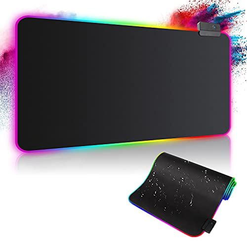 Alfombrilla de Ratón RGB, Tapete de Juego Extra Grande, Alfombrilla Raton LED 14 Efectos de Iluminación, Ratón Gaming para Gamers, PC y Portátil (800×300×4mm)
