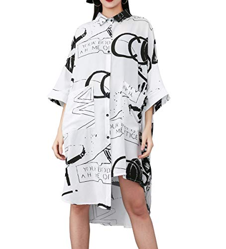 ellazhu Damen Shirt Bluse unregelmäßig länge ärmel Loose Fit Button Down GY1828 weiß