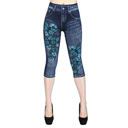 NPRADLA Women's Artificial Jeans Pants Summer Print High Waist Elastic Sports Large Size Seven-Cent Trouser(3XL,Dunkelblau)