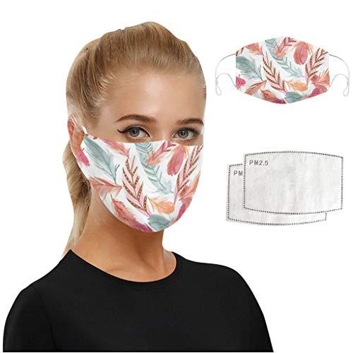 WEXCV 1pc Face Cover + 2pcs Filters Mundschutz Multifunktionstuch Motorrad Winddicht Atmungsaktiv Mundschutz Halstuch Schön Atmungsaktiv Sommerschal (N)