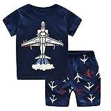 Dtuta Enfant Maillot De Bain Deux-PièCes Haut Short avec Dessin d'avion Et Avions De Service à La Maison pour Pyjamas Home Service (2-7 Ans)