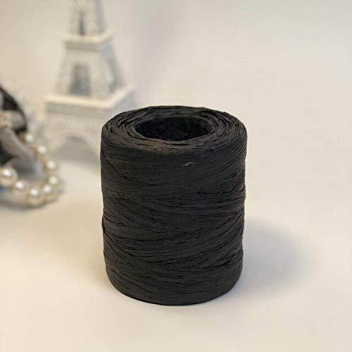 AUBERSIT 200 m/rol 100% raffia stro garen, hand haak garen, voor diy handgemaakte hoeden, tassen, manden, zwart