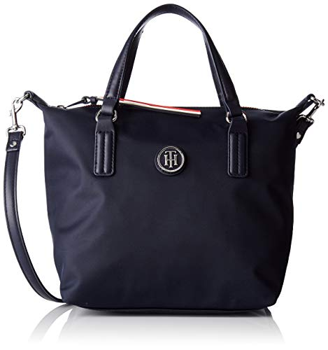 Tommy Hilfiger Poppy Small Tote, Damen Stofftasche, Blue (Tommy Navy), 15.5x25.5x33 cm (W x H L)