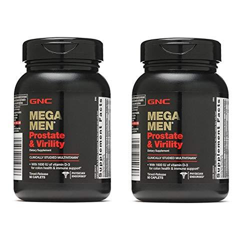 GNC Mega Men Prostate and Virility Multivitamin with Saw Palmetto Lycopene (2 Pack - 180 CAPLETS)