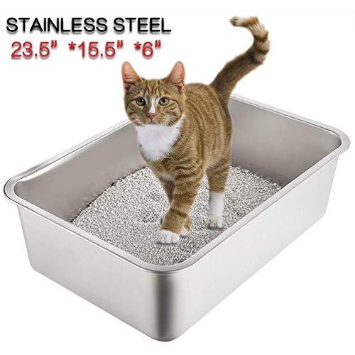 Yangbaga Katzentoilette Groß, Katzentoilette aus Edelstahl, robuste Katzentoilette, Nicht leicht zu verzerren, Kaninchentoilette, Toilette für großes Häschen und große Katze, 60x 40x 16 cm (Silber)