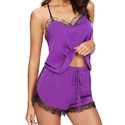 acction Conjuntos de Lenceria Sexy Mujer Ropa de Noche de Encaje Sexy para Mujeres Ropa Interior Tentación Babydoll Camisón Camisas Crop Top y Pantalones Cortos Pijama