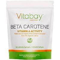 Beta caroteno 25.000IE, 180 cápsulas veganas, vitamina A Activity concentrada,natural de Algae D. Salina