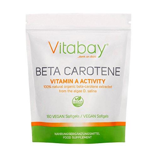 Vitabay Beta Carotin 25.000 IE (180 Softgels) • Carotin kapseln hochdosiert mit Provitamin A • Natürlicher Haut Bronzer & Reine Rohstoffe