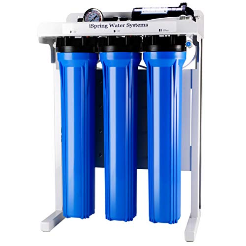 iSpring RCB3P Reverse Osmosis RO Water Filtration System, 300 GPD, Tankless, for Residential and Light Commercial usage,TDS Reduction, with Booster Pump and Pressure Gauge