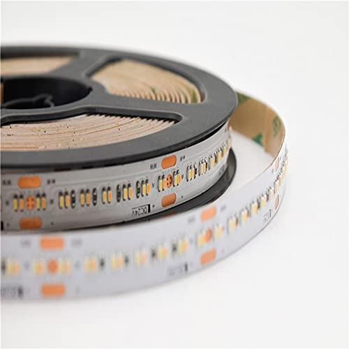 Tira de LED CCT 1808 ajustable CCT 1808 DC24V 364Led/m 2700K + 6000K Tira LED de alta luminosidad lineal de atenuación de 5 m/rollo (color emisor: tira de LED CCT, longitud: 5 m, Potencia: 16 20 W)