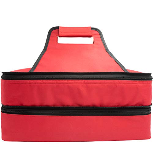 Insulated thermal food carrier with 2 sections and handles a zip...