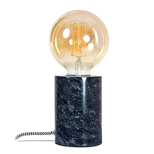 Design-Tischlampe polierter Marmor-Block Tischleuchte in Zylinder-Form - schwarz