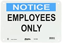 """Master Lock S21000 10"""" Width x 7"""" Height Polypropylene, Blue and Black on White Safety Sign, Header """"Notice"""", Legend """"Employees Only"""""""