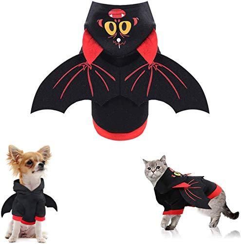 Ropa Perro Disfraces de Halloween del palo de PET con alas, con capucha del perro de perrito Ropa Equipos Ropa for grandes, medianos y pequeños perros, gatos y otros animales, for Halloween, Navidad,