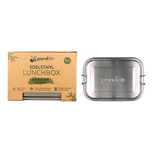 pandoo Edelstahl Lunchbox | 800ml | inkl. Baumwollbeutel, Divider und E-Book | auslaufsichere umweltfreundliche Brotdose | Bento Box | flexible Trennwand