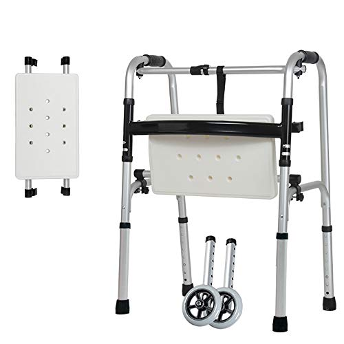 Collapsible Wheeled Walker/Walker, Elderly Height-Adjustable Bath Chair with seat, Standard Walkers, Disabled Training, Aluminum Frame