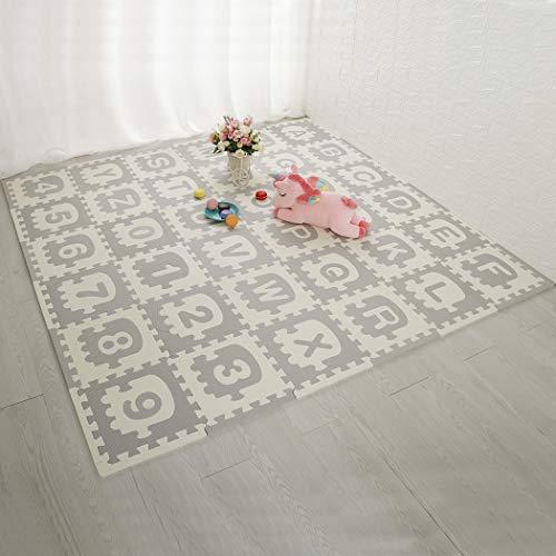 LUVODI Puzzlematte für Babys TÜV Rheinland GS Zertifiziert 180 x 180cm Kinder Schutzmatten Set Spielmatte BodenschutzmattenLernteppich 36 Stück