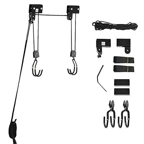 HOMCOM Kajak Lift Decken Lift Fahrrad-Bike Lift Aufbewahrungssystem für Kanus bis 50 kg Deckenhalterung Mehrzweck Stahl PP Schwarz 12,3 x 16 cm