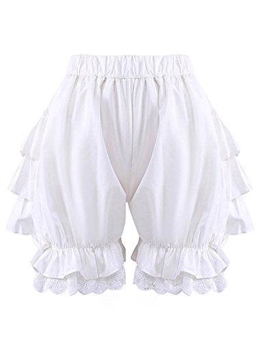 Antaina Weiße Spitze Baumwolle viktorianische Rüschen Lolita Kürbis Pumphose Shorts Hosen,M
