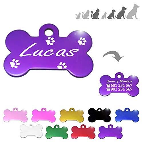 Iberiagifts - Hueso para Mascotas Medianas-Grandes con Patas Placa Chapa de identificación Personalizada para Collar Perro Gato Mascota grabada (Lila)