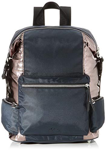 s.Oliver RED LABEL Damen Rucksack mit Metallic-Details grey/roségold 1