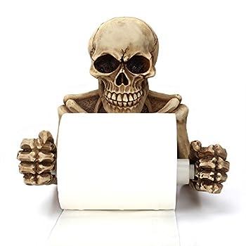 Skull Skeleton Toilet Paper Holder Bathroom Wall Decoration Figurine Home Office Art Fashion Halloween Props