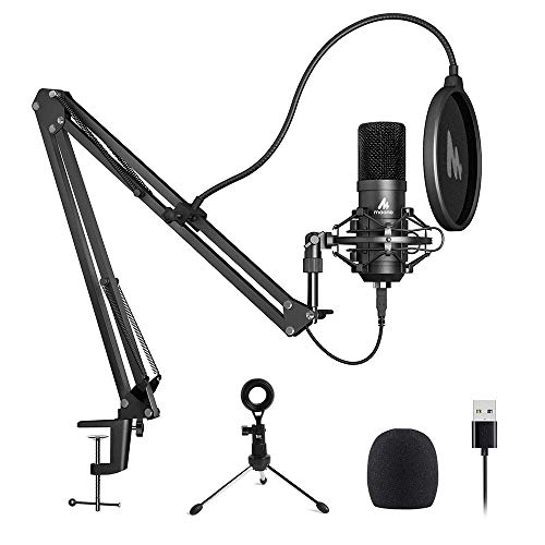 USB Microphone MAONO A04 Plus Cardioid Condenser Podcast Mic 192kHz/24bit Plug and Play, Provide Two Mic Holders for Livestreaming, Voice Over, YouTube, Gaming, ASMR