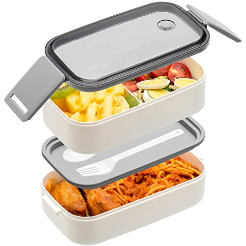 Bento Box For Adults Kids - 1600ML All-in-One StackablePremium Japanese Bento Lunch Box Container With Utensil, Durable Leak-proof Eco-Friendly, Micro-Waves & Dishwasher & Freezer Safe (White)