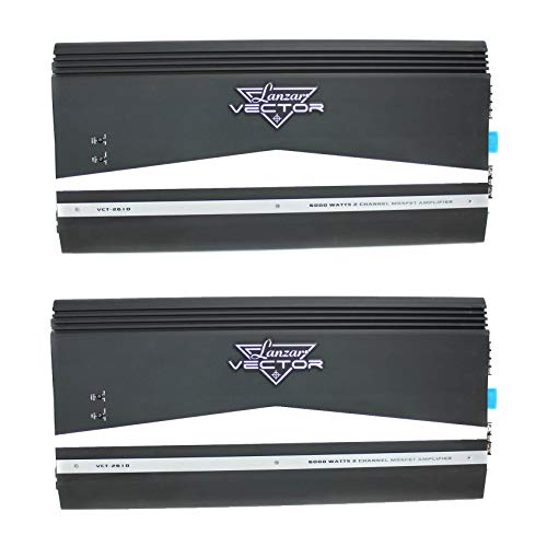 LANZAR Audio 6000W 2 Channel Car Amplifier Power Amp Stereo MOSFET (2 Pack)